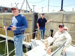 Our 144th lock!  Entering the Charles River! Note Bill Burke expertly managing the lines, a skill which earned him the (self-proclaimed) title of Mariner of the Year.