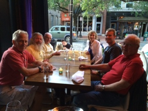 Dinner in Norwalk with such good friends - left to right: Tom, Jim K, Hank, Alice, Tim, Tom McNichol
