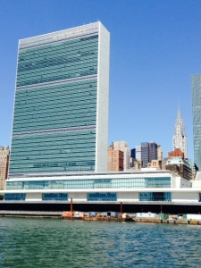 The United Nations, as seen from the bridge of the Joint Adventure on the East River