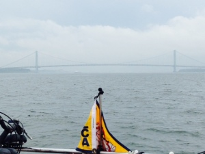 The Verrazano Bridge emerged from the fog as we approached the mouth of the Hudson River.